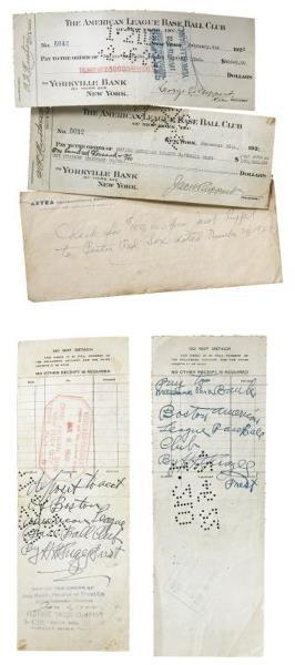 143: Pair of 1920's New York Yankees Checks Payable to