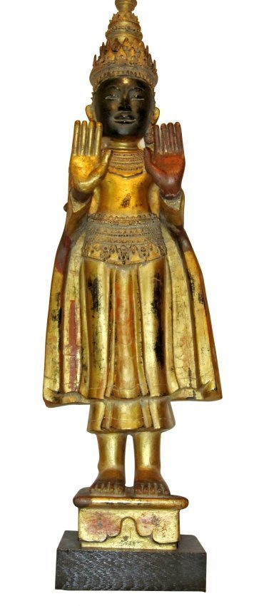 Gilt, Painted and Carved Wood Standing Buddha