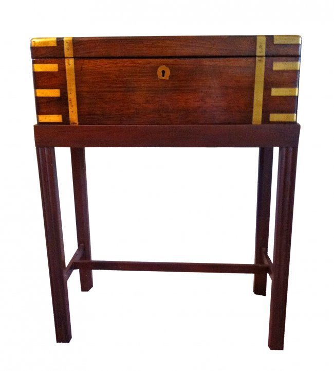 Rosewood and Brass Writing Desk on Stand