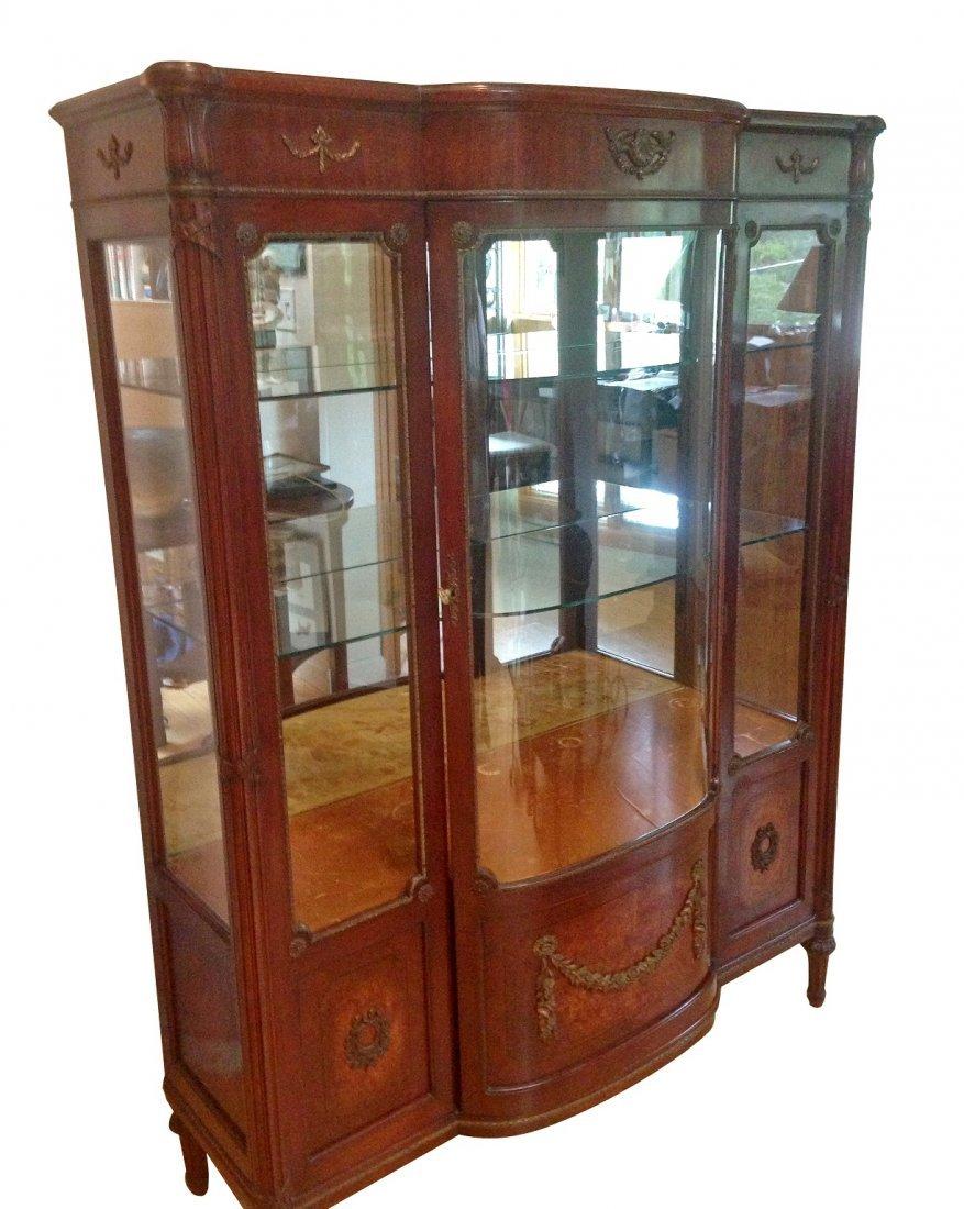 Louis XVI Style Mahogany and Burlwood Display Cabinet
