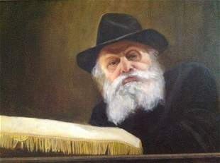 Portrait of the Lubavitcher Rebbe, Oil on Canvas