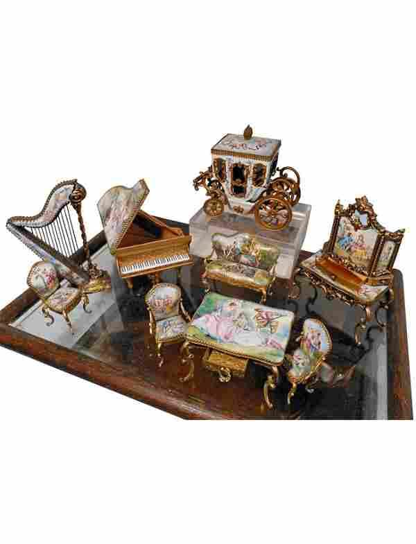 Suite of Austrian Gilt Metal Miniature Furniture & Case