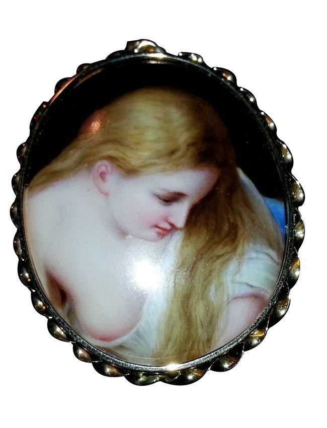 14K Gold Mounted Painted Porcelain Brooch/Pendant