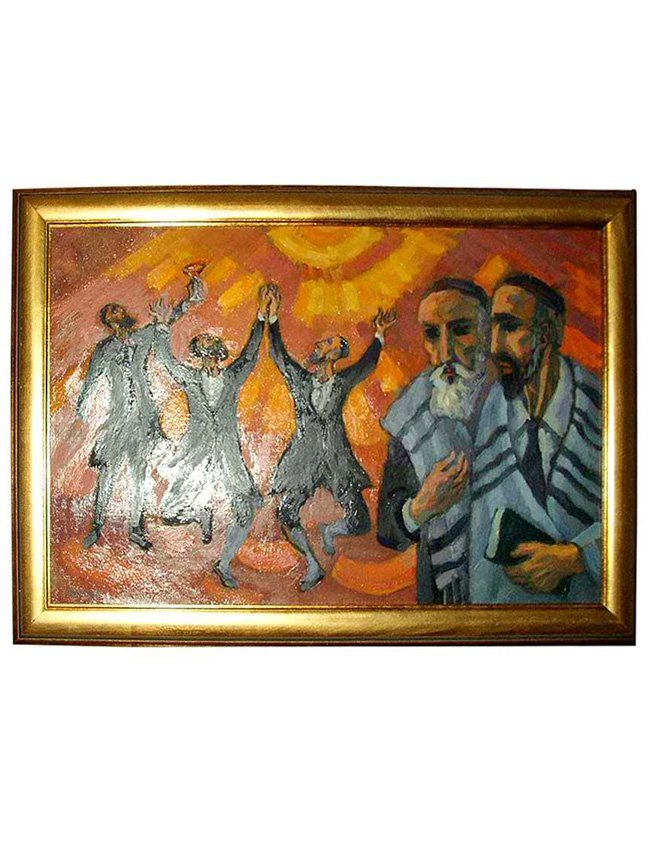 Martin Mondrus, Dancing Rabbis, oil on canvas, signed