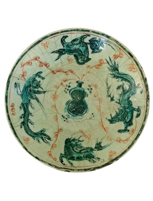 Chinese Crackle Glaze Large Ceramic Charger Late Ming