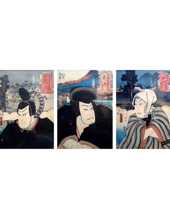 Three Japanese Colored Woodblock Prints, 19th century