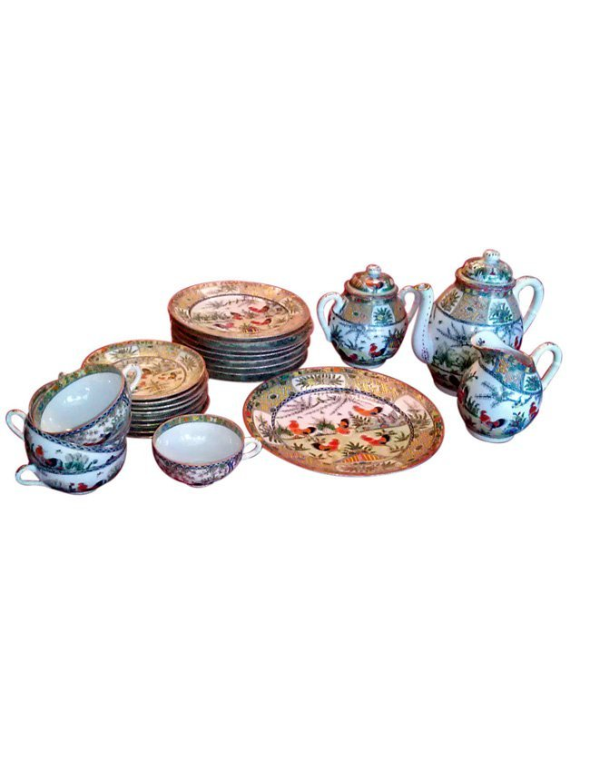 Chinese Famille Rose Porcelain Partial Luncheon Service