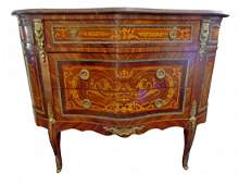 Pair Louis XV/XVI Transitional Style Marquetry Commodes