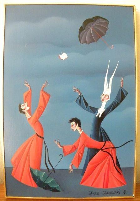 "Carlo Canevari ""Nun with Two Priests"", oil on panel"