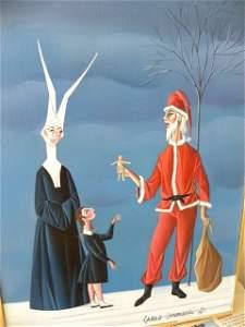 "Carlo Canevari ""Nun with Santa Claus"", oil on panel"
