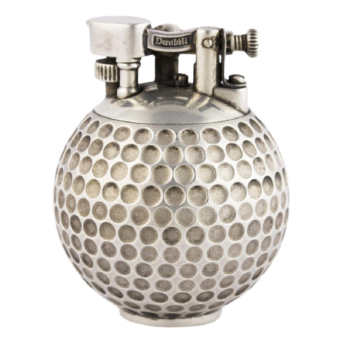 "A SOLID SILVER DUNHILL UNIQUE ""GOLF BALL"" TABLE LIGHTER"
