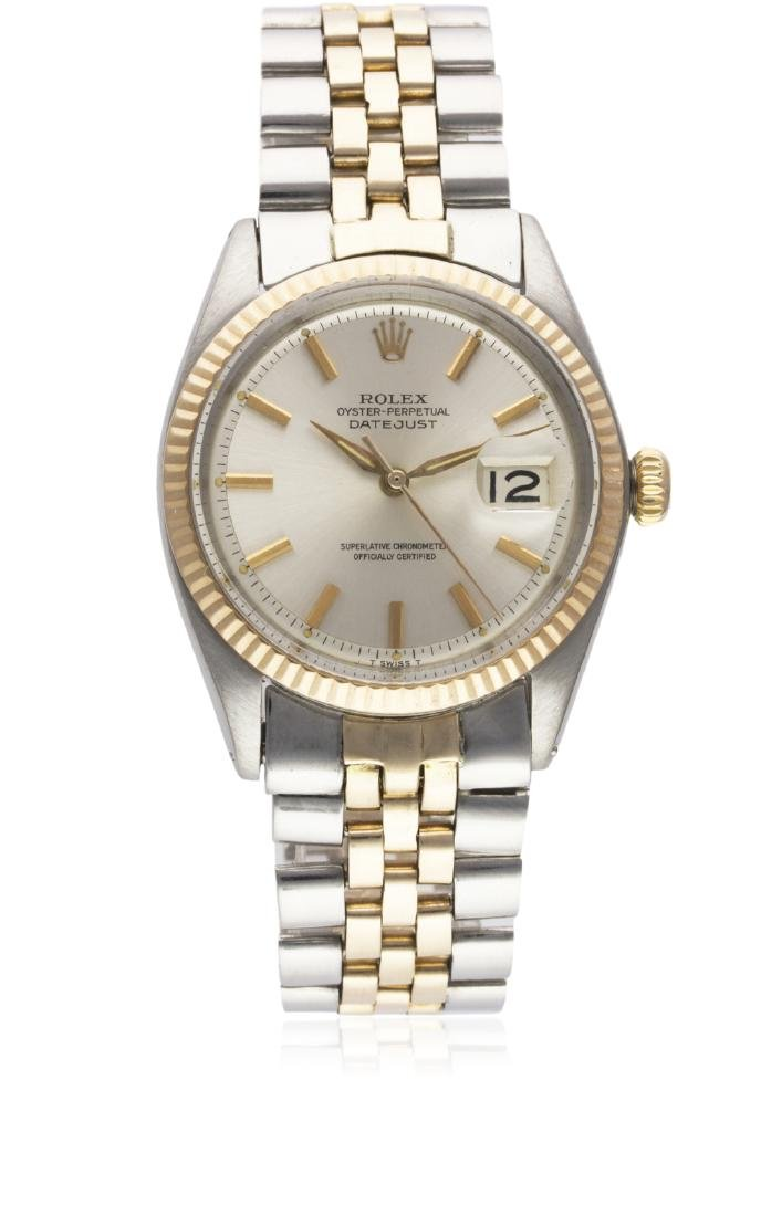 A GENTLEMAN'S STEEL & ROSE GOLD ROLEX OYSTER PERPETUAL