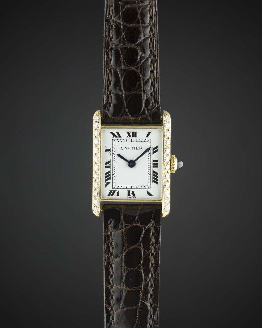 A LADIES 18K SOLID GOLD CARTIER TANK WRIST WATCH  CIRCA