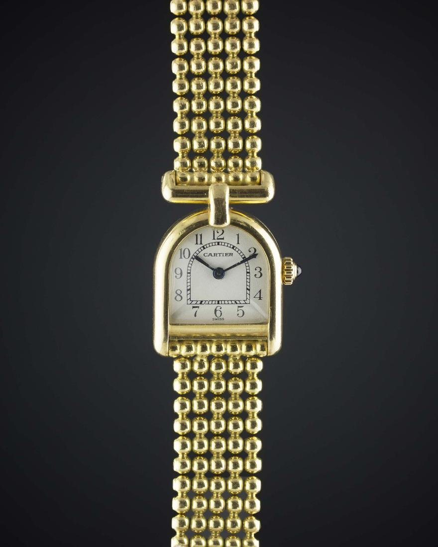 "A LADIES 18K SOLID GOLD CARTIER PARIS CALANDRE  ""LA"