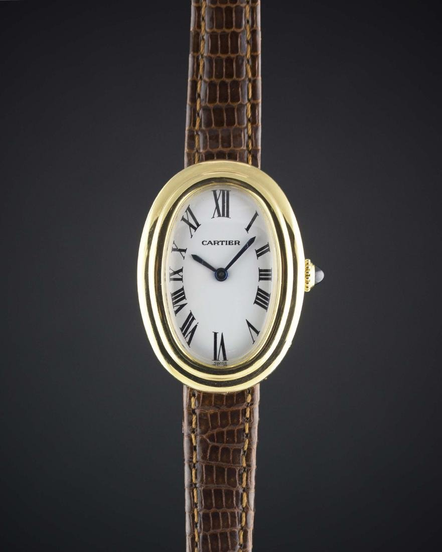 A LADIES 18K SOLID GOLD CARTIER PARIS BAIGNOIRE WRIST