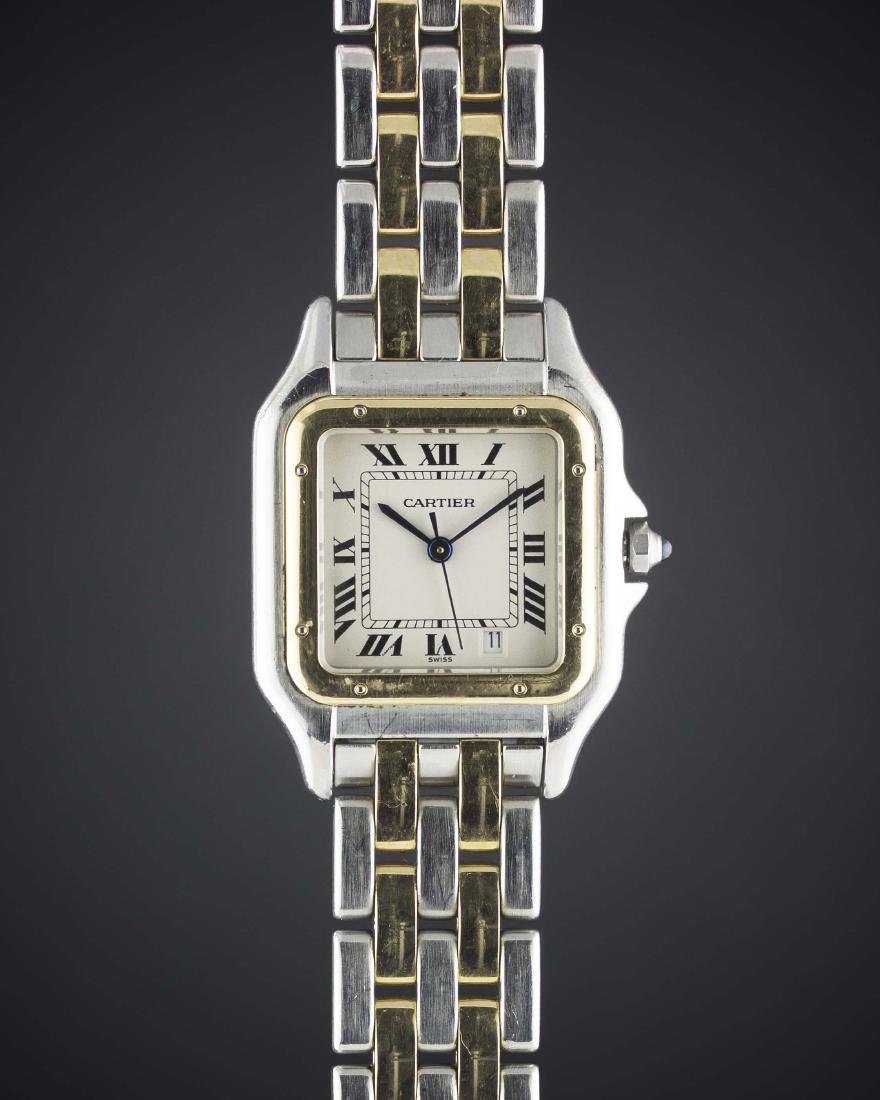 A GENTLEMAN'S SIZE STEEL & GOLD CARTIER PANTHERE