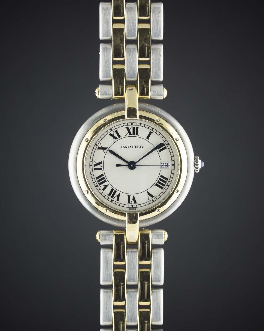 A GENTLEMAN'S SIZE STEEL & GOLD CARTIER PANTHERE RONDE
