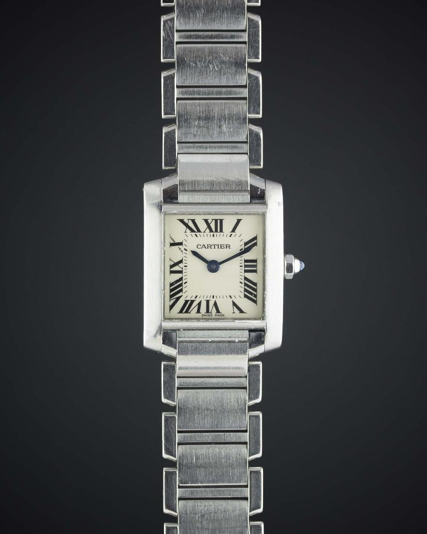A LADIES STAINLESS STEEL CARTIER TANK FRANCAISE