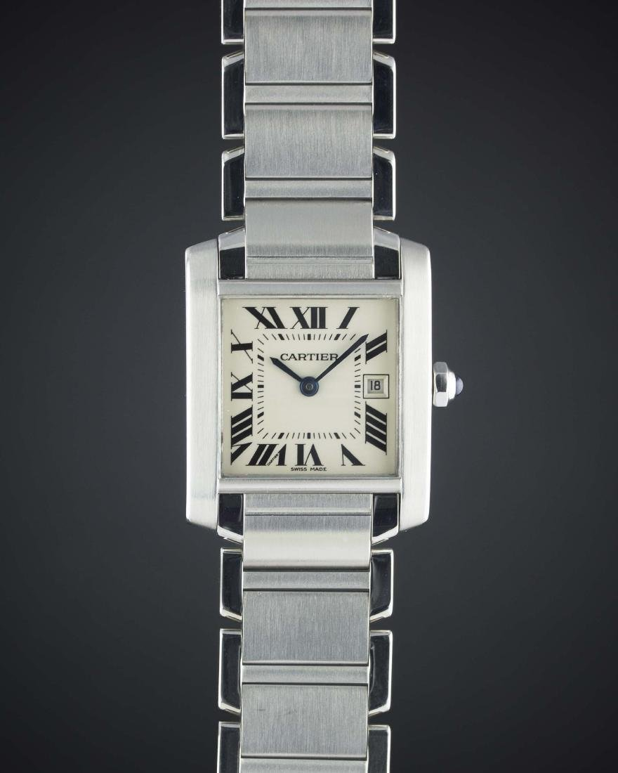A LADIES MID SIZE STAINLESS STEEL CARTIER TANK