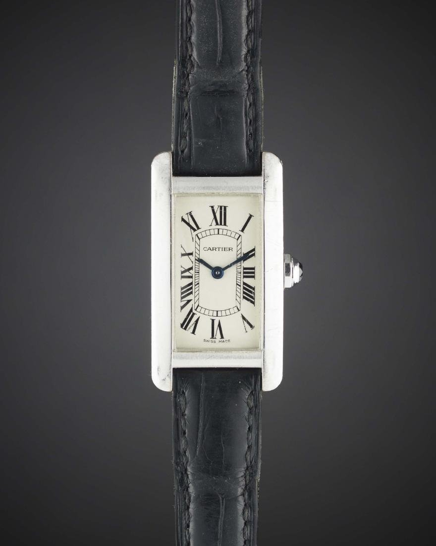 A LADIES 18K SOLID WHITE GOLD CARTIER TANK AMERICAINE