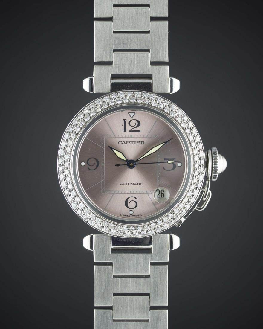 A LADIES LARGE SIZE STAINLESS STEEL CARTIER PASHA