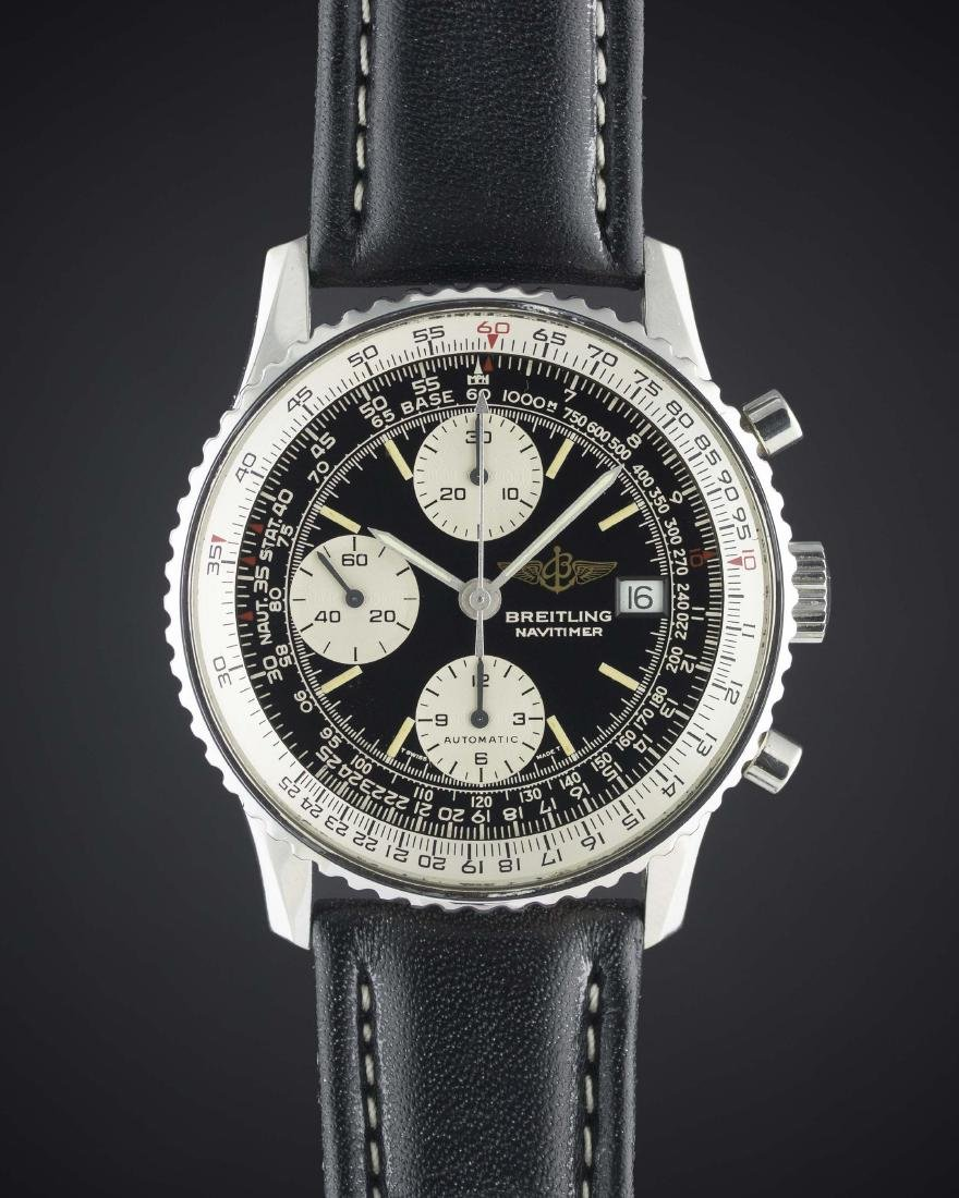 """A GENTLEMAN'S STAINLESS STEEL BREITLING """"OLD NAVITIMER"""""""