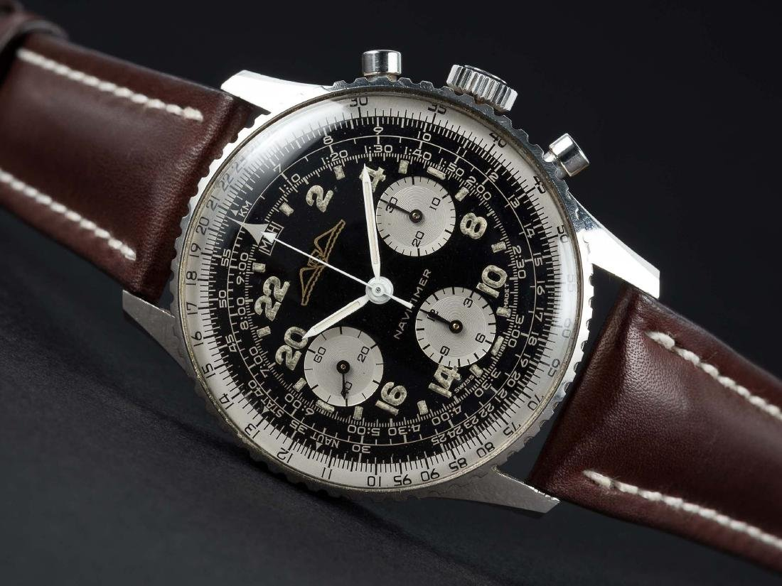 A RARE GENTLEMAN'S STAINLESS STEEL BREITLING AOPA 24