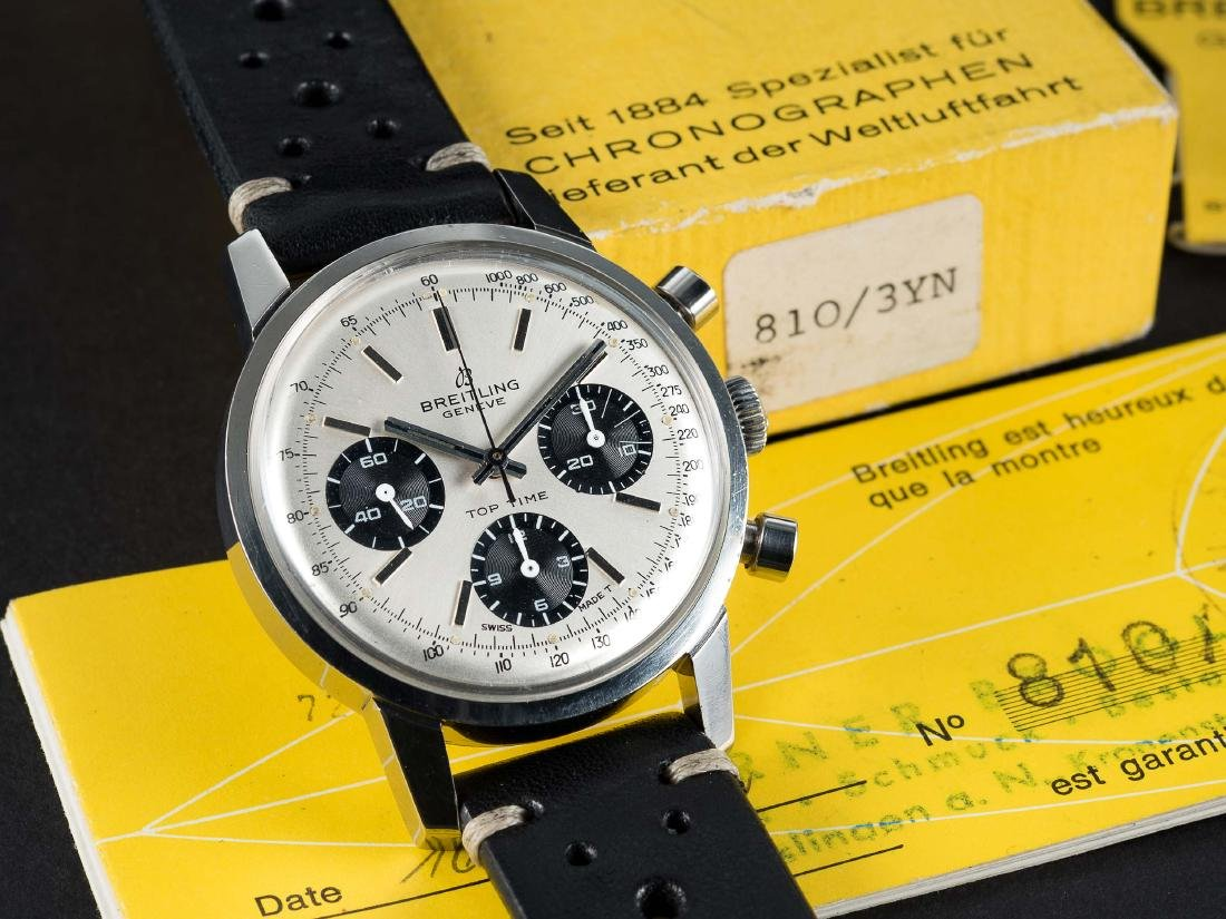 A RARE GENTLEMAN'S STAINLESS STEEL BREITLING TOP TIME