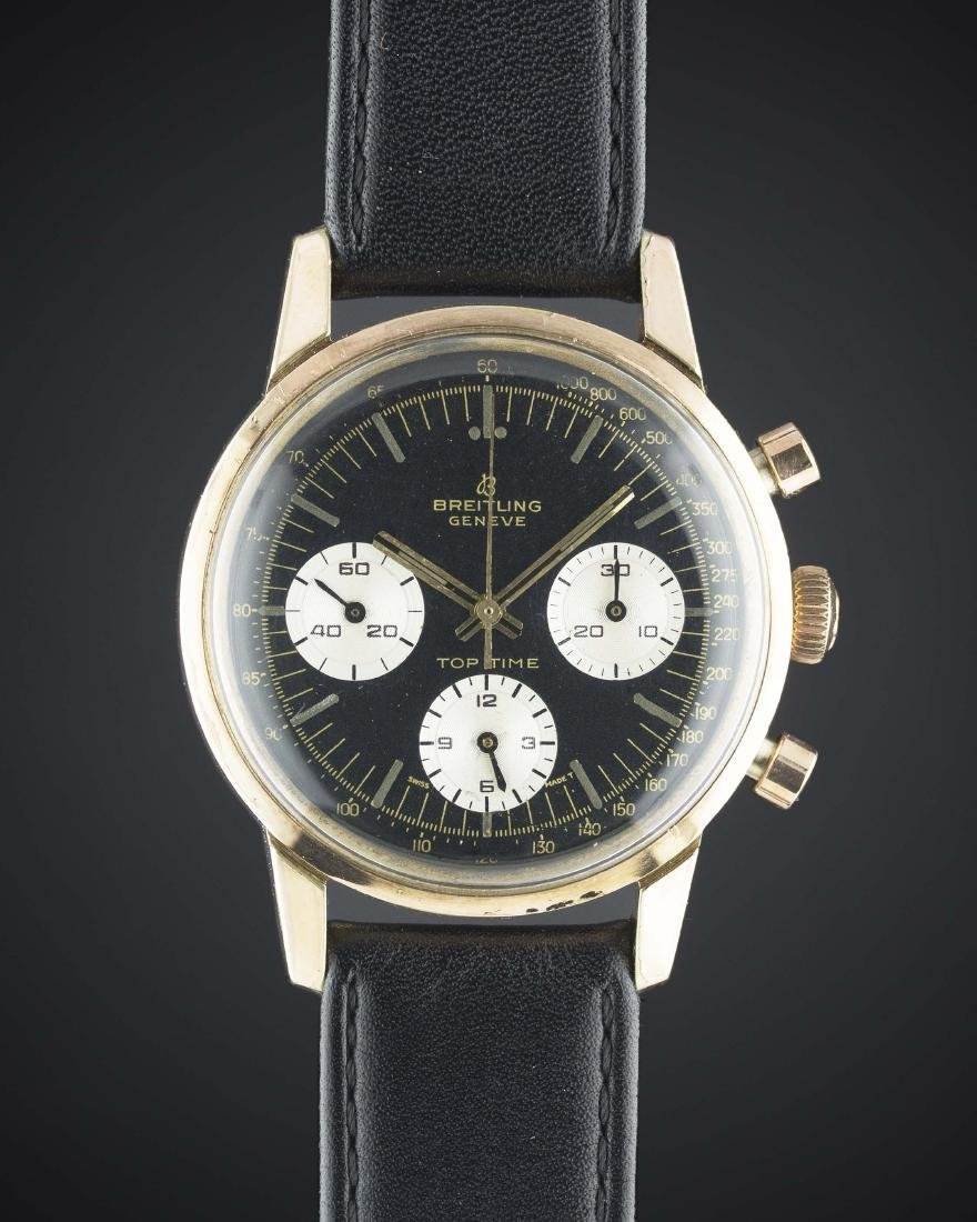A GENTLEMAN'S PINK GOLD PLATED BREITLING TOP TIME