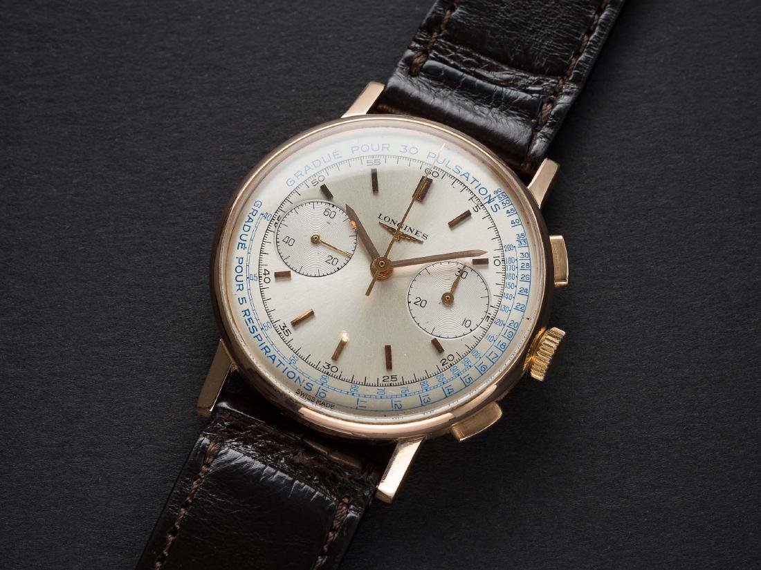 A FINE & RARE GENTLEMAN'S 18K SOLID PINK GOLD LONGINES