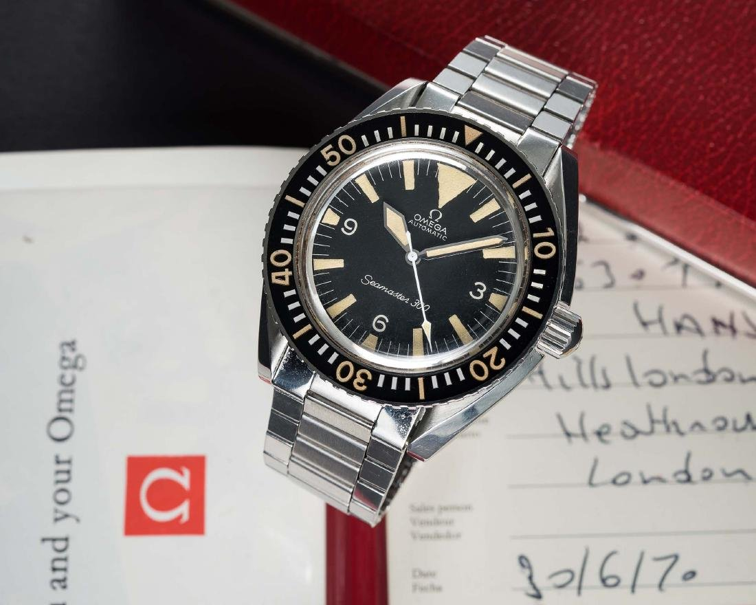 A VERY RARE GENTLEMAN'S STAINLESS STEEL OMEGA SEAMASTER