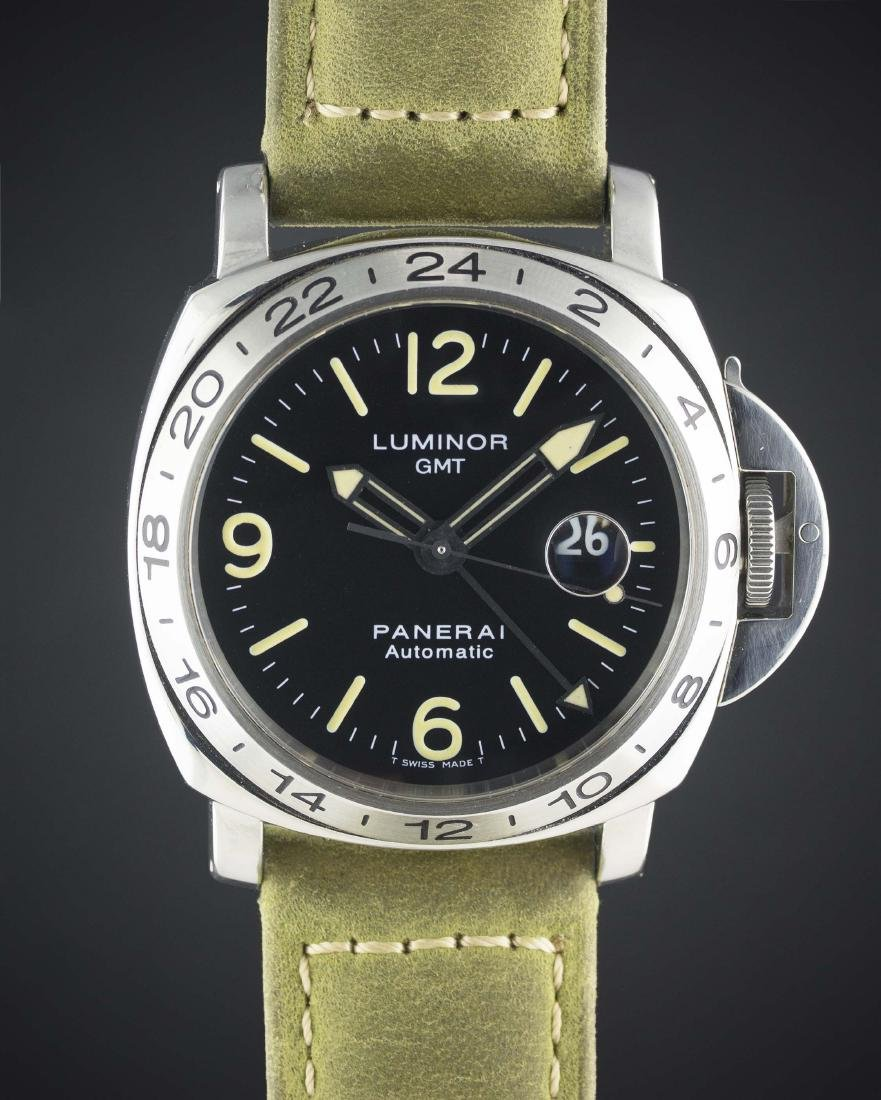 A RARE GENTLEMAN'S STAINLESS STEEL PANERAI LUMINOR GMT