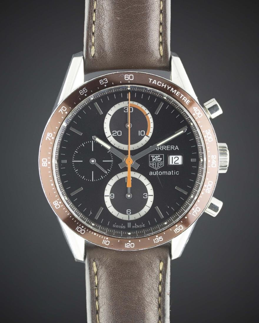 A GENTLEMAN'S STAINLESS STEEL TAG HEUER CARRERA CALIBRE