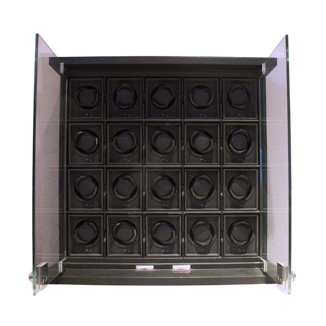 A LEATHER 20 MODULE WATCH WINDER CABINETBY UNDERWOOD