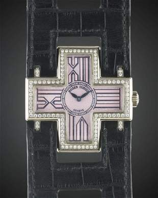 A LADIES 18K SOLID WHITE GOLD DIAMOND ROGER DUBUIS
