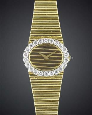 A FINE LADIES 18K SOLID GOLD DIAMOND CHOPARD BRACELET