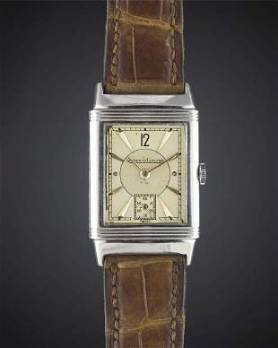 A GENTLEMANS STAINLESS STEEL JAEGER LECOULTRE REVERSO