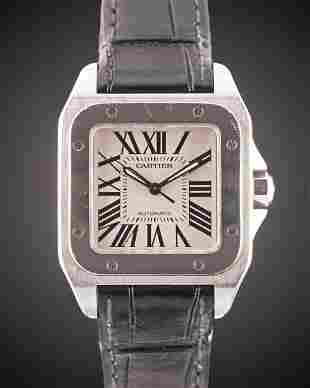 A STAINLESS STEEL CARTIER SANTOS 100 34MM AUTOMATIC