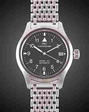A GENTLEMAN'S STAINLESS STEEL IWC MARK XII AUTOMATIC