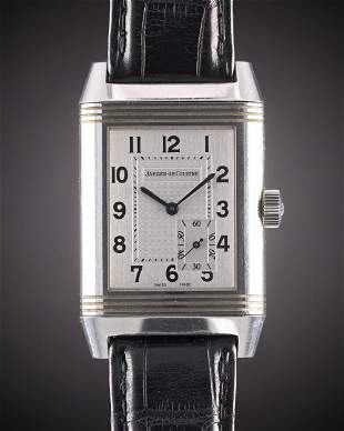 A GENTLEMAN'S STAINLESS STEEL JAEGER LECOULTRE GRANDE