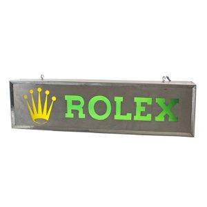 A RARE LARGE STEEL ILLUMINATING ROLEX ADVERTISING SHOP