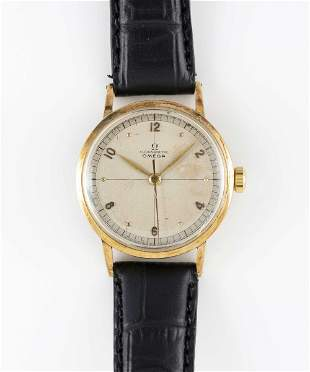 A GENTLEMAN'S 14K SOLID YELLOW GOLD OMEGA CHRONOMETRE