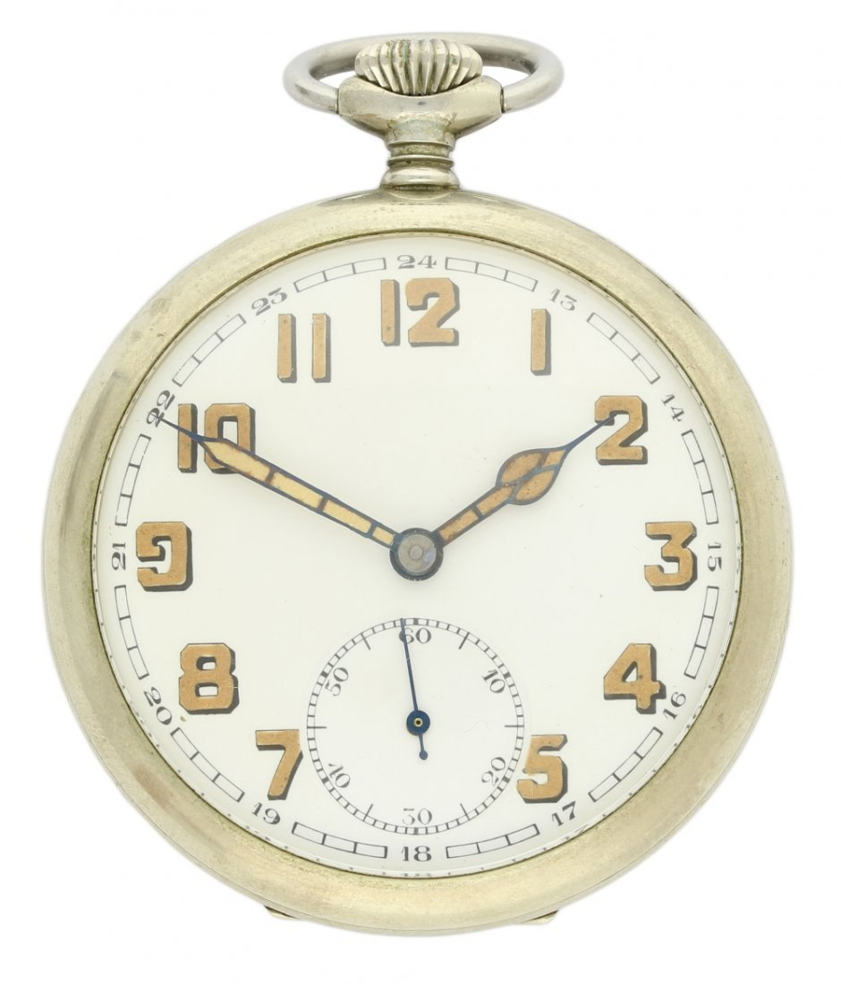 A NICKEL CASED SWEDISH MILITARY POCKET WATCH CIRCA