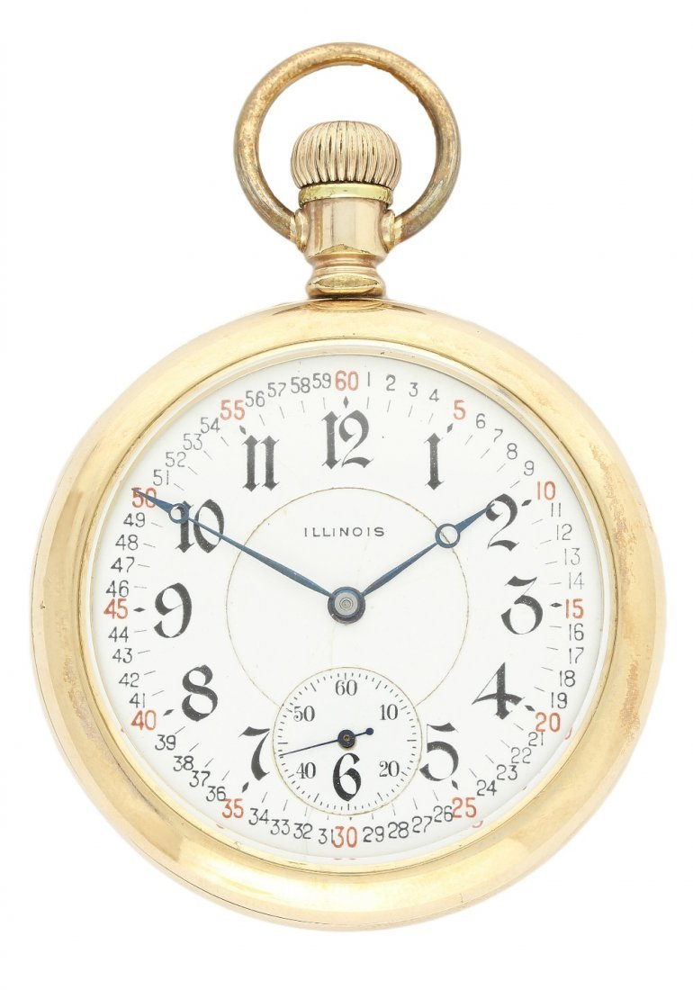 A GENTLEMAN'S GOLD PLATED ILLINOIS POCKET WATCH CIRCA