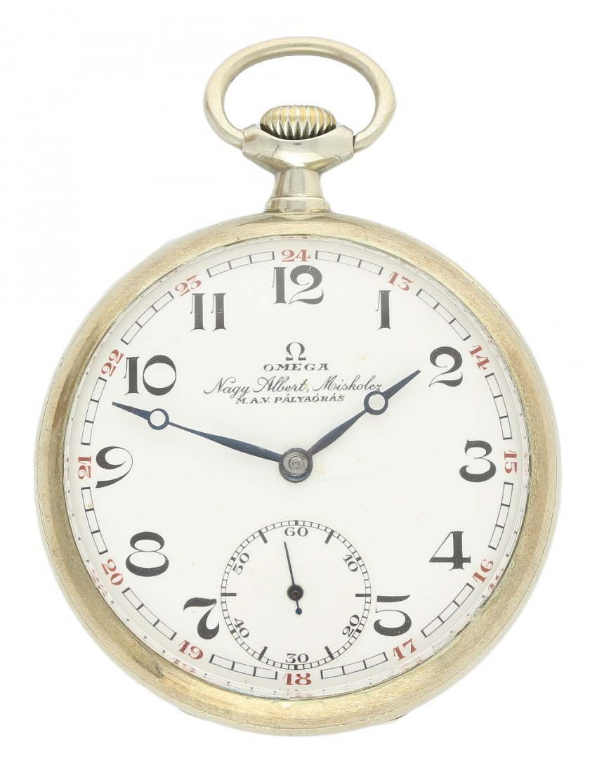A GENTLEMAN'S NICKEL CASED OMEGA POCKET WATCH CIRCA