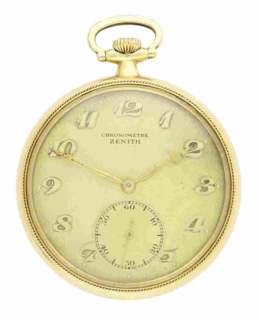 A GENTLEMAN'S 18K SOLID GOLD ZENITH CHRONOMETER POCKET