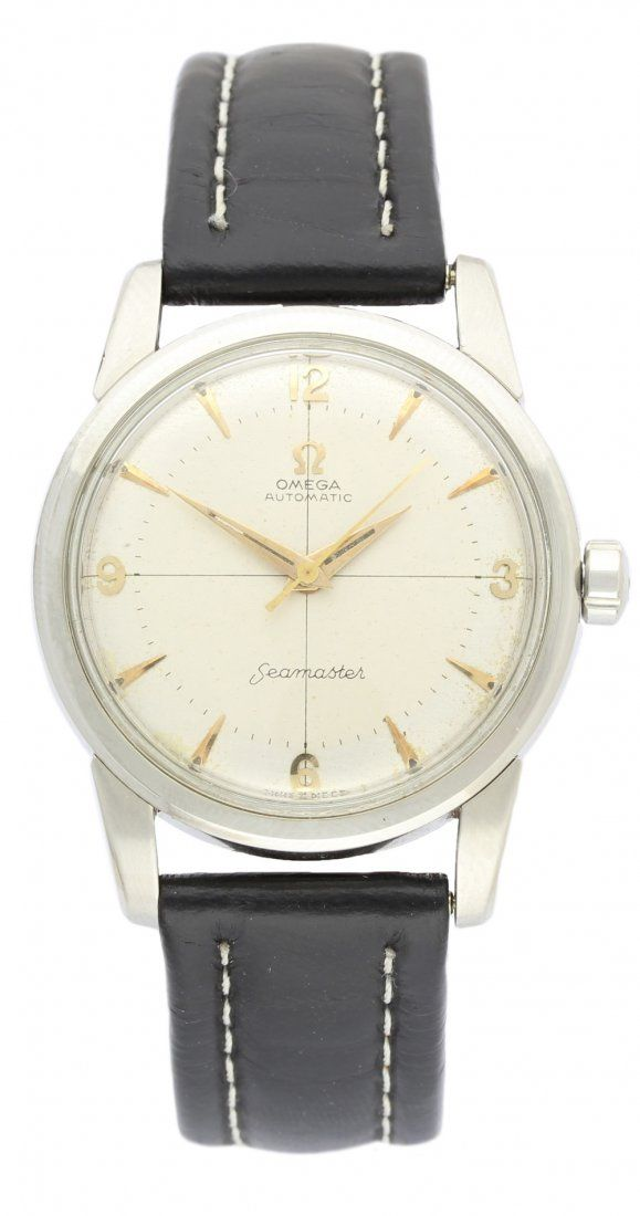 A GENTLEMAN'S STAINLESS STEEL OMEGA SEAMASTER AUTOMATIC