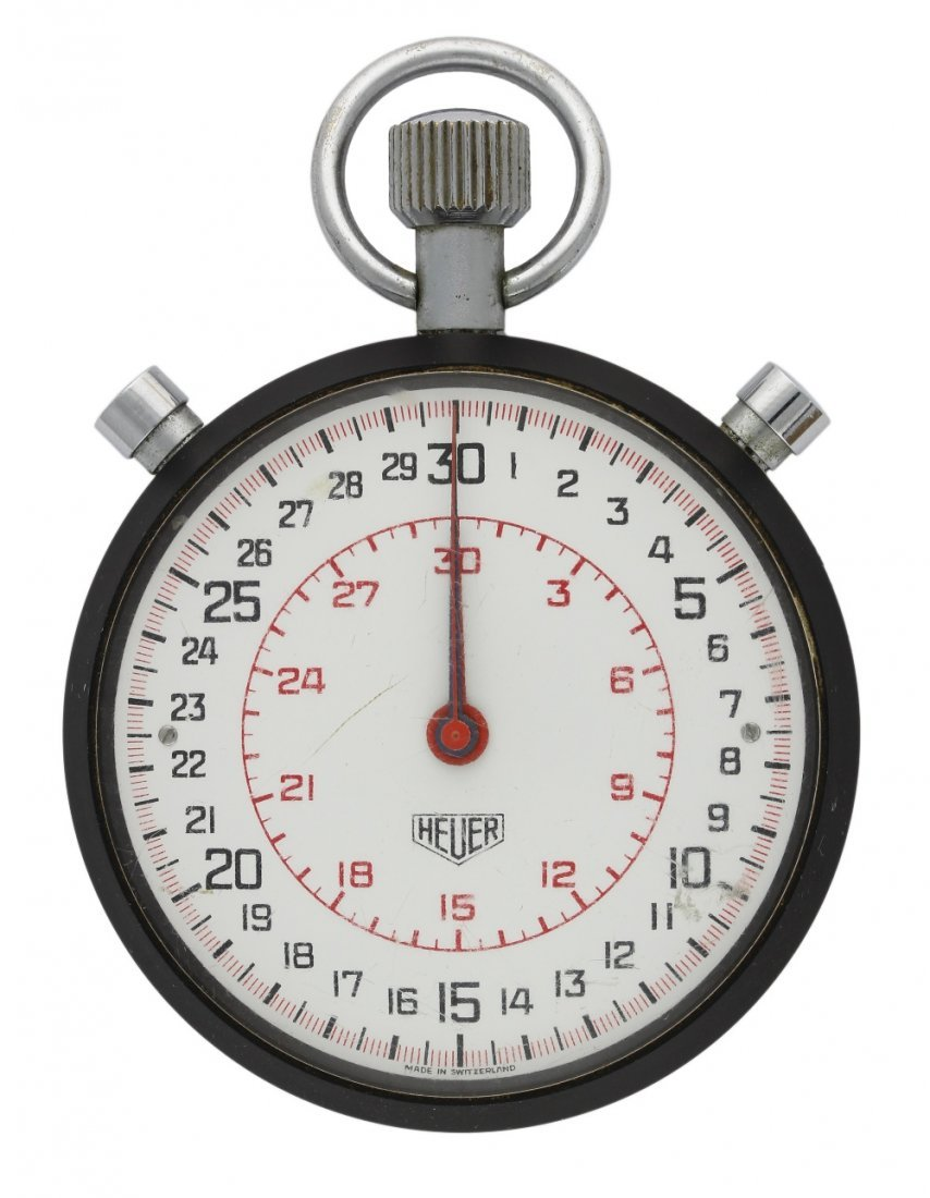 A SPLIT SECONDS HEUER POCKET WATCH TIMER WITH MINUTE