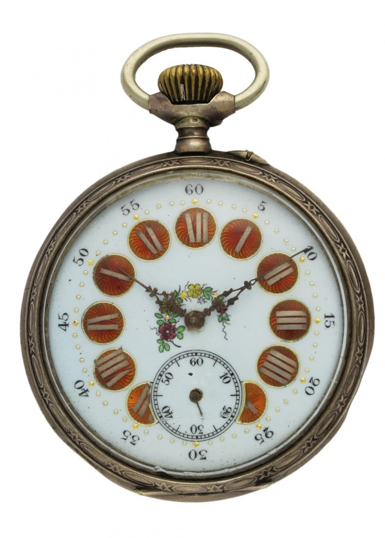 A SOLID SILVER KEYLESS WIND POCKET WATCH CIRCA 1900 D:
