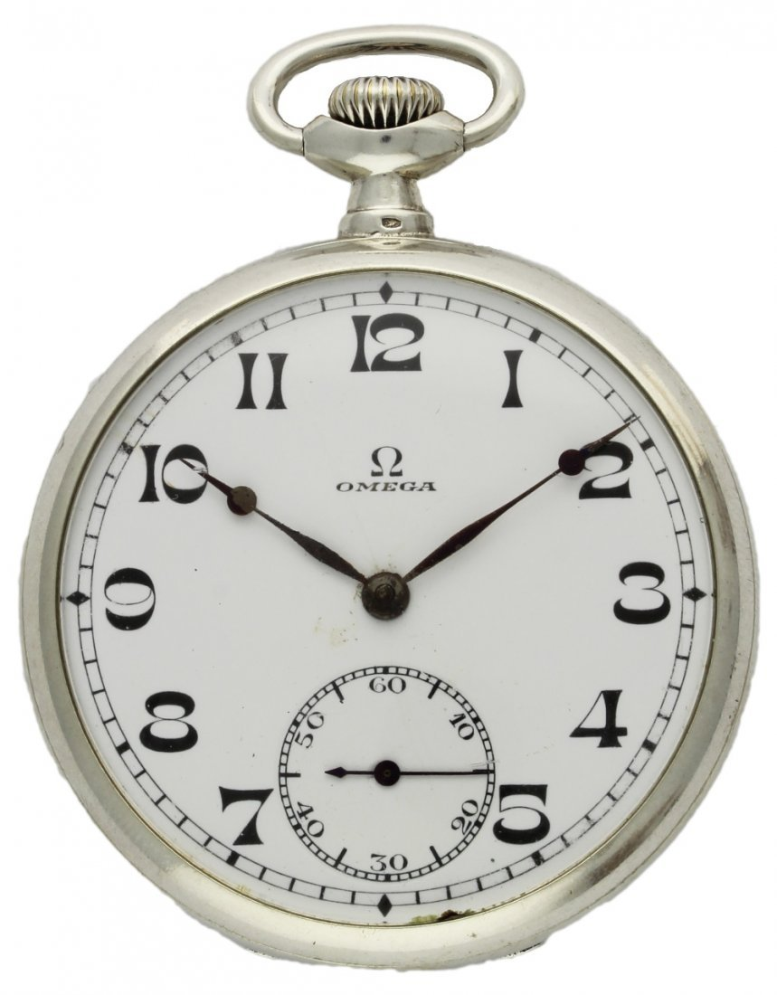 A SOLID SILVER KEYLESS WIND OMEGA POCKET WATCH CIRCA